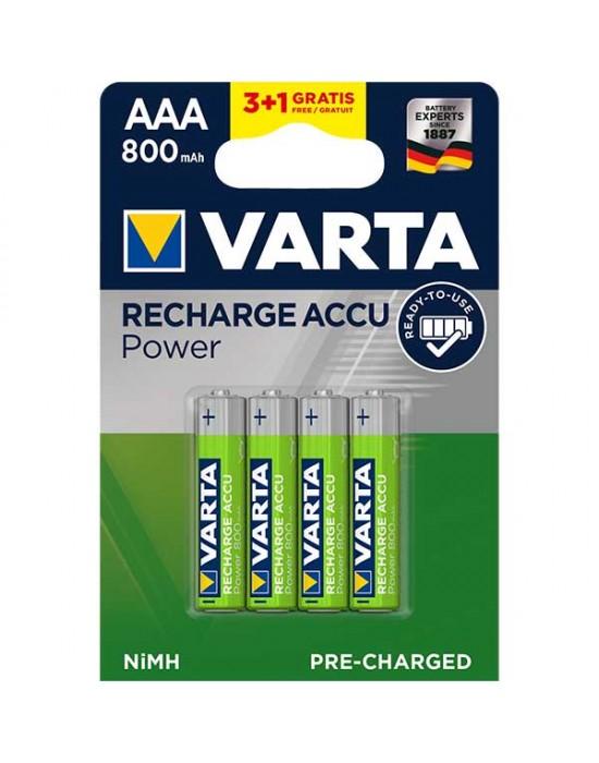 Акумулаторни батерии Varta Accu Power - 800 mAh ААА R2U 3+1 броя