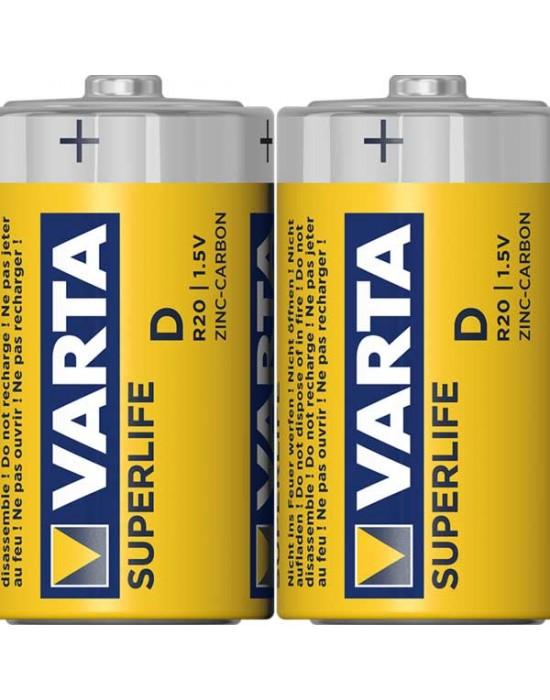 Цинкови батерии Varta Superlife фолио - D 2 броя