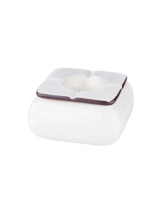 Пепелник квадратен керамичен бял 12cm