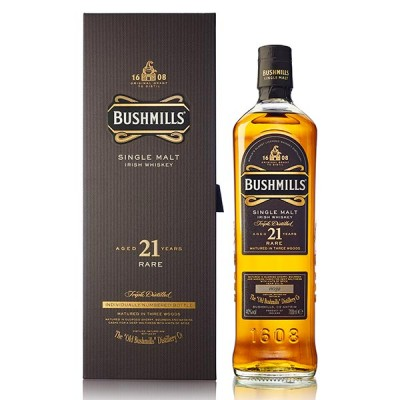 Bushmills 21 Year Old Single Malt Irish Whiskey 70cl - УИСКИ БУШМИЛС МАЛТ 21YO - 0.70Л