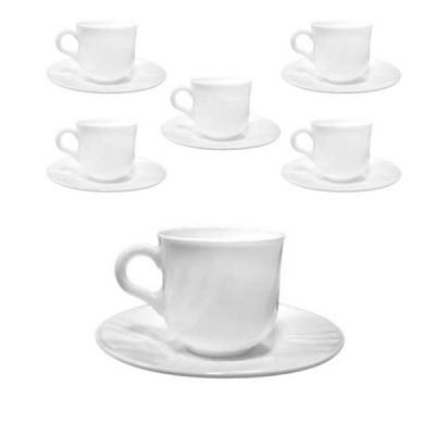 Комплект 6 броя чаша за кафе с чинийка Ebro - 100 ml - Bormioli Rocco