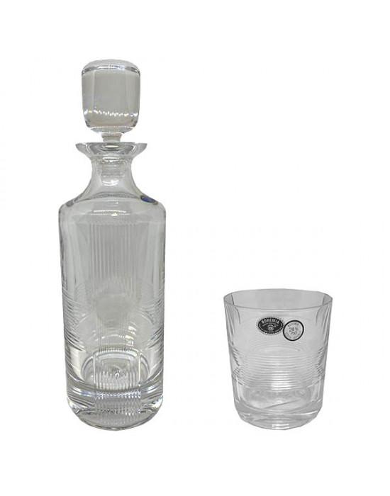 Комплект 6 чаши 250 ml и бутилка Kris-Kross - Crystal Bohemia