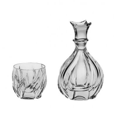 Bromelias Set - Bottle + 6 glasses 240 ml - Crystal Bohemia