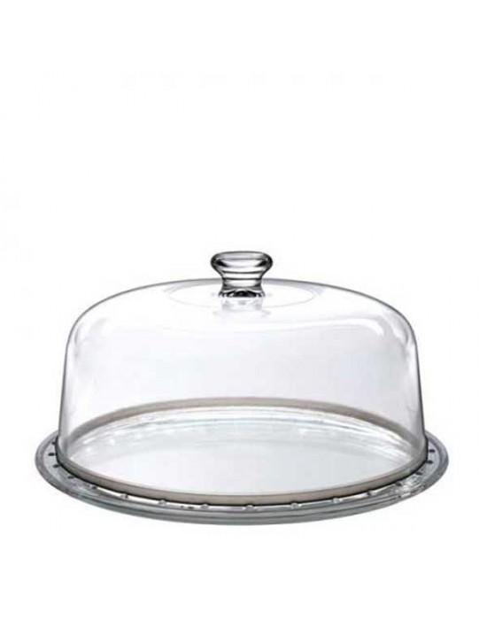 Стъклен поднос за торта с капак Palladio 31см - Borgonovo