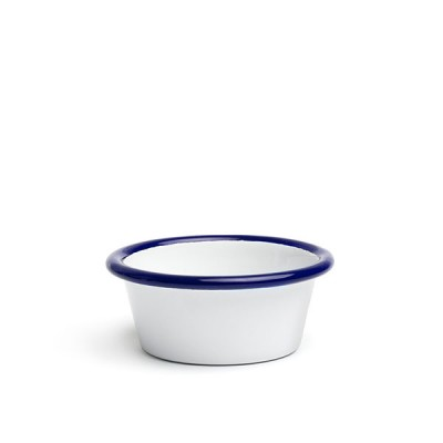 Sausage enameled 7 cm white with blue edging