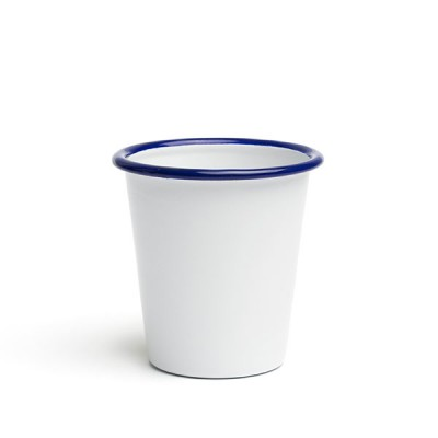 Sausage-cup enameled 9 cm white with blue edging
