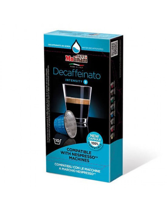 Кафе Molinari Безкофеинови капсули съвместими с Nespresso машини - 10 броя