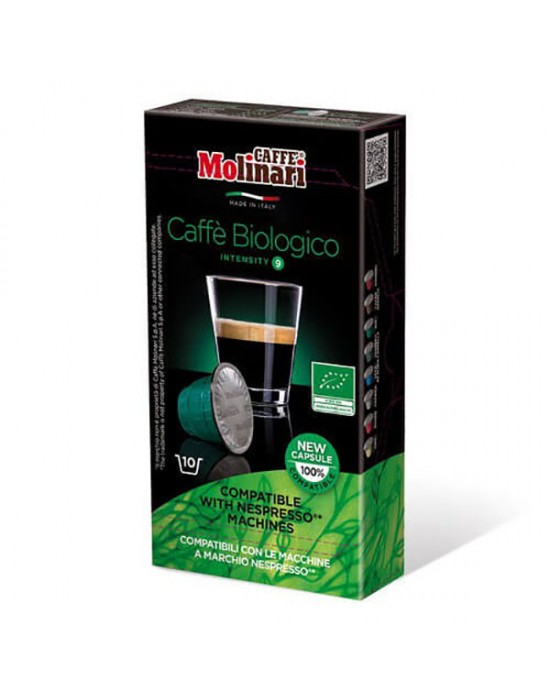 Кафе Molinari капсули Био съвместими с Nespresso машини - 10 броя