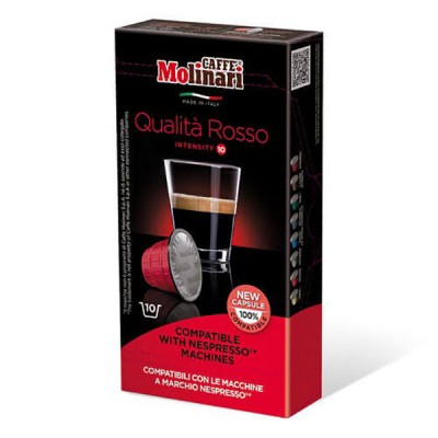 Кафе Molinari капсули Росо съвместими с Nespresso машини - 10 броя