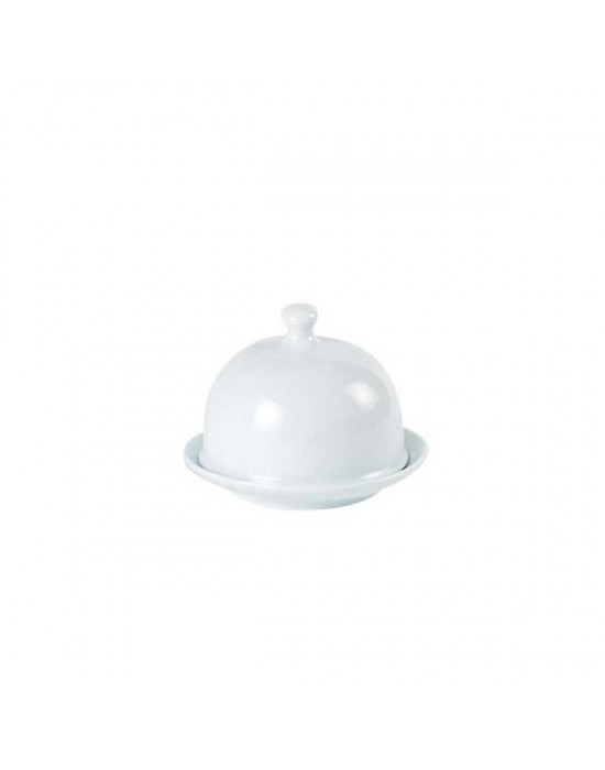 Porcelite round covered butter dish 9x6.5cm