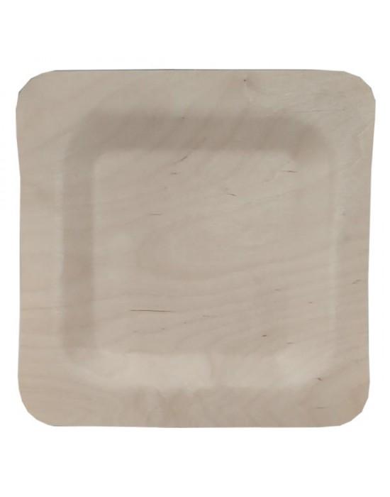 Дървени чинии квадратни 23 см. 10 бр., ECO, за еднократна употреба