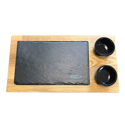 Wooden board with stone slab and 2 saucers